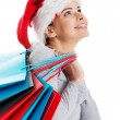 Beautiful woman in santa hat carrying shopping bags. — Stock Photo #36907539