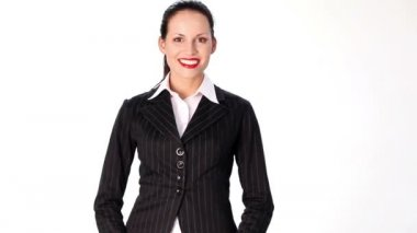 Businesswoman looking on side and saying something — Wideo stockowe