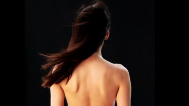 Sensual young woman with beautiful long brown hairs — Stock Video