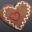 Gingerbread Christmas heart cookie. — Stock Photo