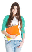 Young beautiful student with files, workbook. — Stock Photo