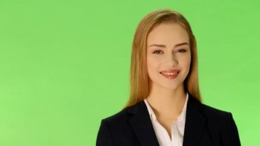 Young beautify business woman smiling. — Stock Video