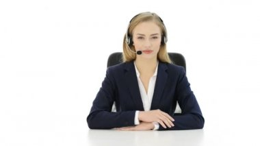 Young beautiful woman at call center showing OK — Stock Video