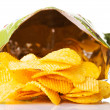 Stock Photo: Yellow, tasty but unhealthy potatoe chips.