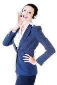 Mulher de negócios bonita para o call center. — Fotografia Stock