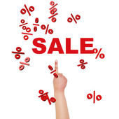 Finger pointing on SALE. — Stock Photo