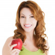 Beautiful woman with red apple. — Stock Photo