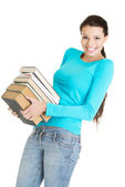 Young caucasian woman (student) with books — Stock Photo
