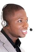 Support telefon operatör i headset — Stockfoto