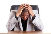 Sad, tired or depressed businessman — Stock Photo