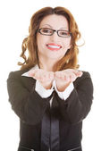 Businesswoman showing copy space on her palm — Stock Photo