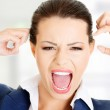 Stressed or angry businesswoman screaming loud — Stock Photo