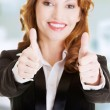 Business woman with thumbs up, ok gesture — Stock Photo