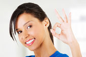 Happy student girl gesturing perfect, isolated on white — Stock Photo