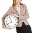 Young caucasian business woman holding clock. — 图库照片 #39580277