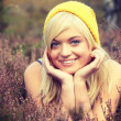 Blonde woman in heather — Stock Photo #39719269