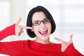 Woman showing her perfect straight white teeth. — Stock Photo