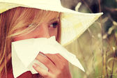 Teen woman with allergy — Stock Photo