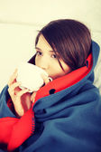 Young woman caught cold. — Stock Photo