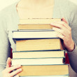 Woman  holding many books — Stock Photo #40194853