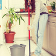 Womholding mop — Stock Photo #40195783