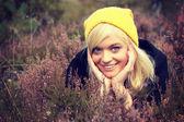 Woman in heather — Foto de Stock