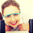 Portrait of a smiling chemist working — Stock Photo