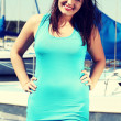 Woman standing in yacht harbor. — Stock Photo