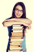 Woman with books — Stock Photo