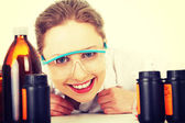 Portrait of a smiling chemist working — Stockfoto