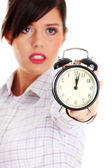 Business woman with alarm clock — Stock Photo
