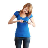 Teen student girl with magnifier — Stock Photo