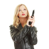 Sexy blond woman with handgun — Stock Photo