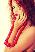 Big ,red,vintage, wooden beads — Stock Photo