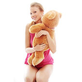 Teen girl with teddy bear — Stock Photo