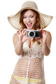 Summer woman making photos — Stock Photo