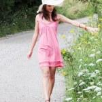 Girl in big summer hat — Stock Photo