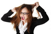 Stressed business woman is going crazy — Stock Photo