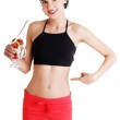 Pretty fit woman eating fruit salad — Stock Photo #41421715
