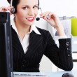 Smiling call center executive — Stock Photo