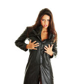 Woman in black leather coat — Stock Photo