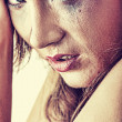 Woman in underwear crying - violence concept — Stock Photo #41495227