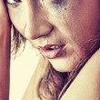 Woman in underwear crying - violence concept — Stock Photo