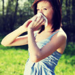 Young woman with allergy  is wiping her nose. — Stock Photo #41534011