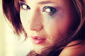 Woman crying - violence concept — Foto de Stock