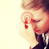 Woman with severe Migraine Headache — Stock Photo