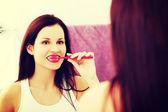 Woman brushing her teeth. — Stock Photo