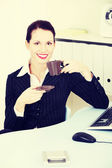 Business woman during coffee break.. — Stock Photo
