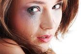 Frau in unterwäsche zu weinen - gewalt-konzept — Stockfoto