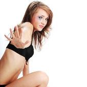 女人的内衣哭-暴力概念 — 图库照片